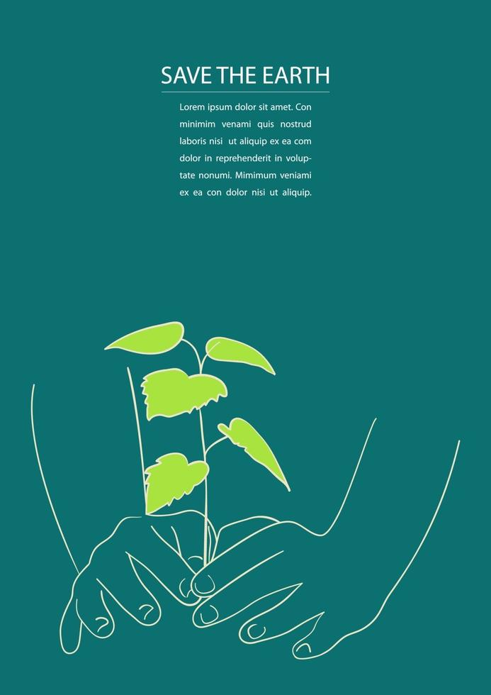 arte em linha de mãos plantando a árvore vetor