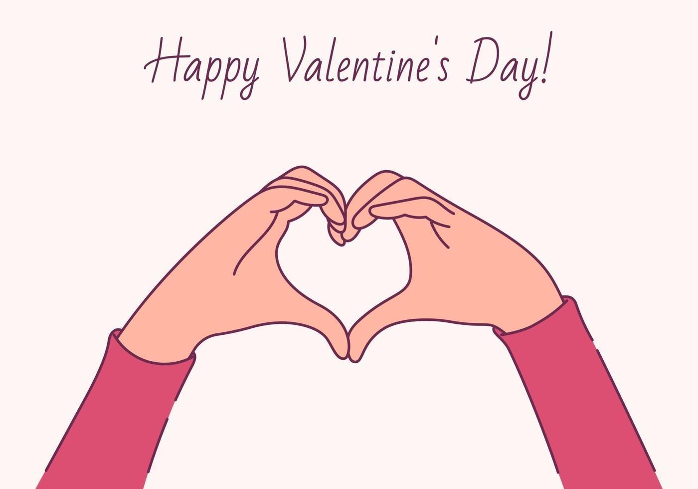 feliz dia dos namorados, conceito de amor. mãos femininas em forma de coração vetor