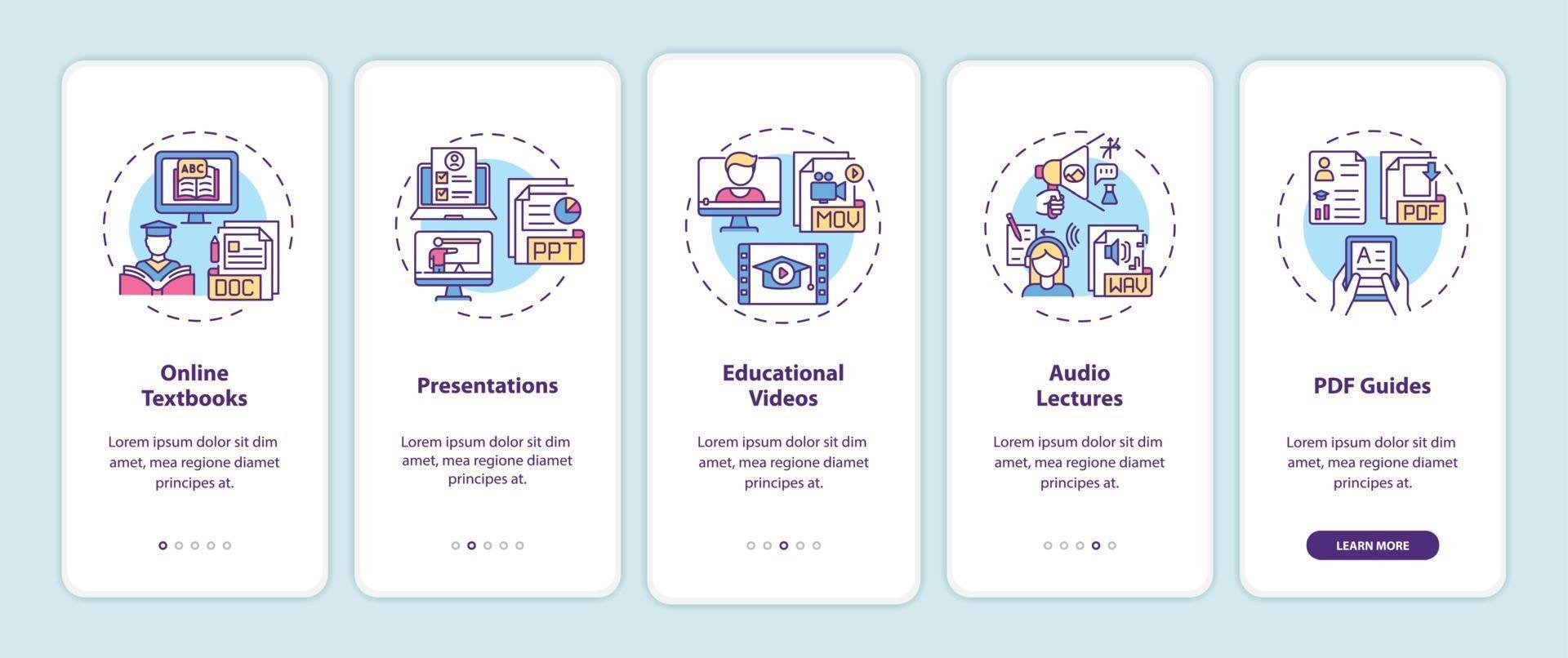 recursos digitais de ensino on-line integração tela da página do aplicativo móvel com conceitos vetor