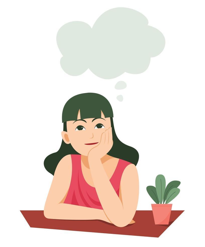 garota está pensando em algo com o símbolo de bolha de pensamento vetor