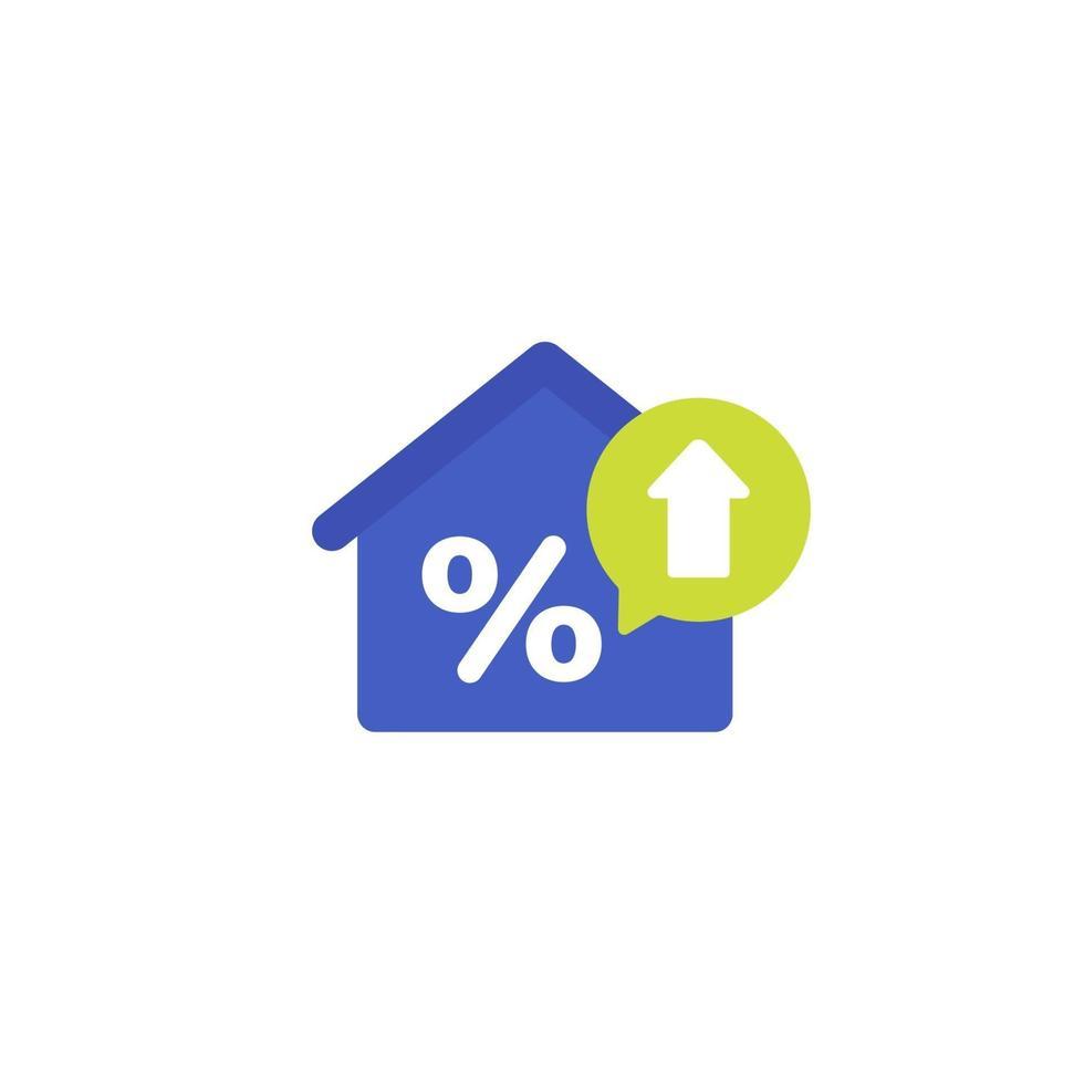 taxa de hipoteca crescente vector icon.eps plana