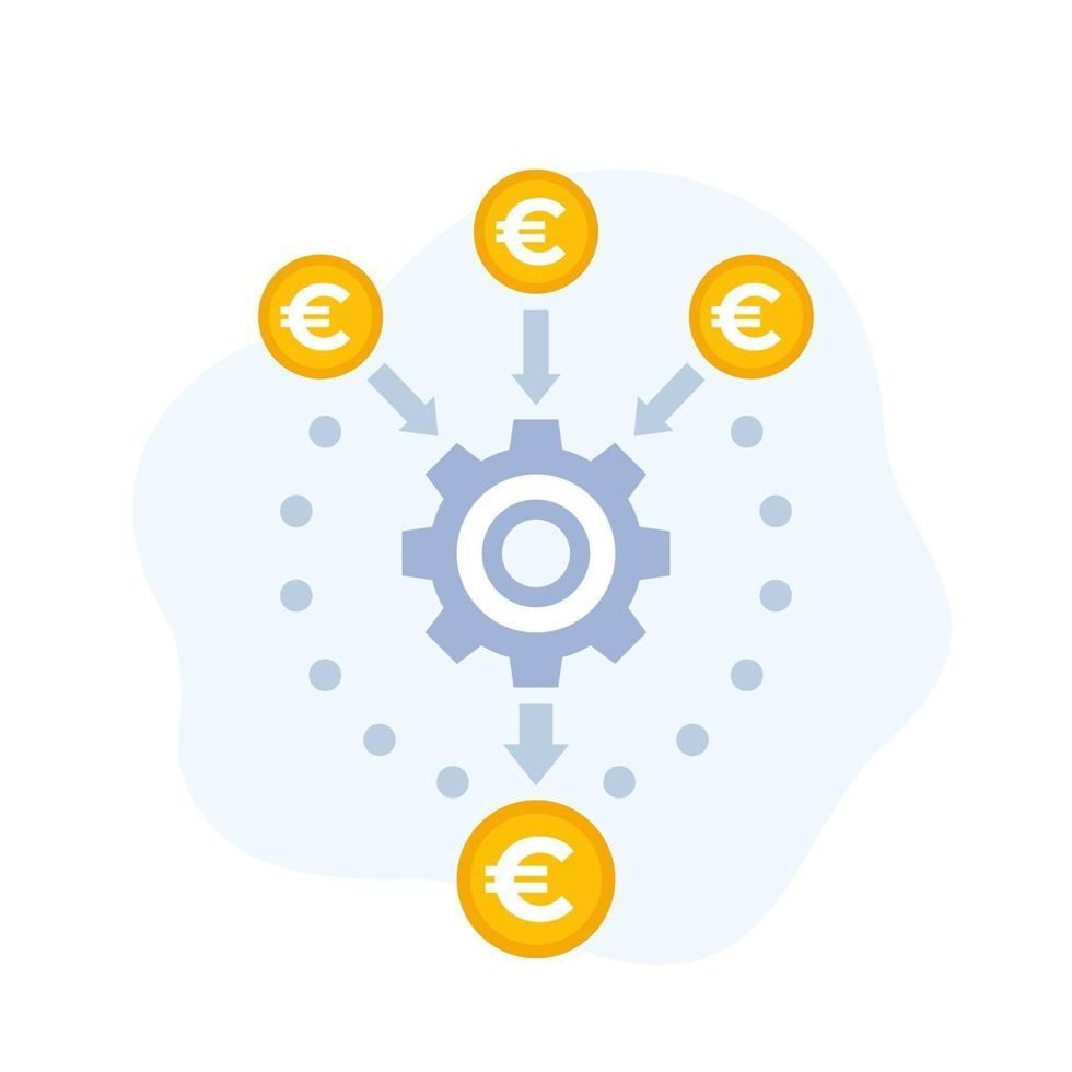 ícone de vetor de otimização de fluxo de caixa com euro.eps