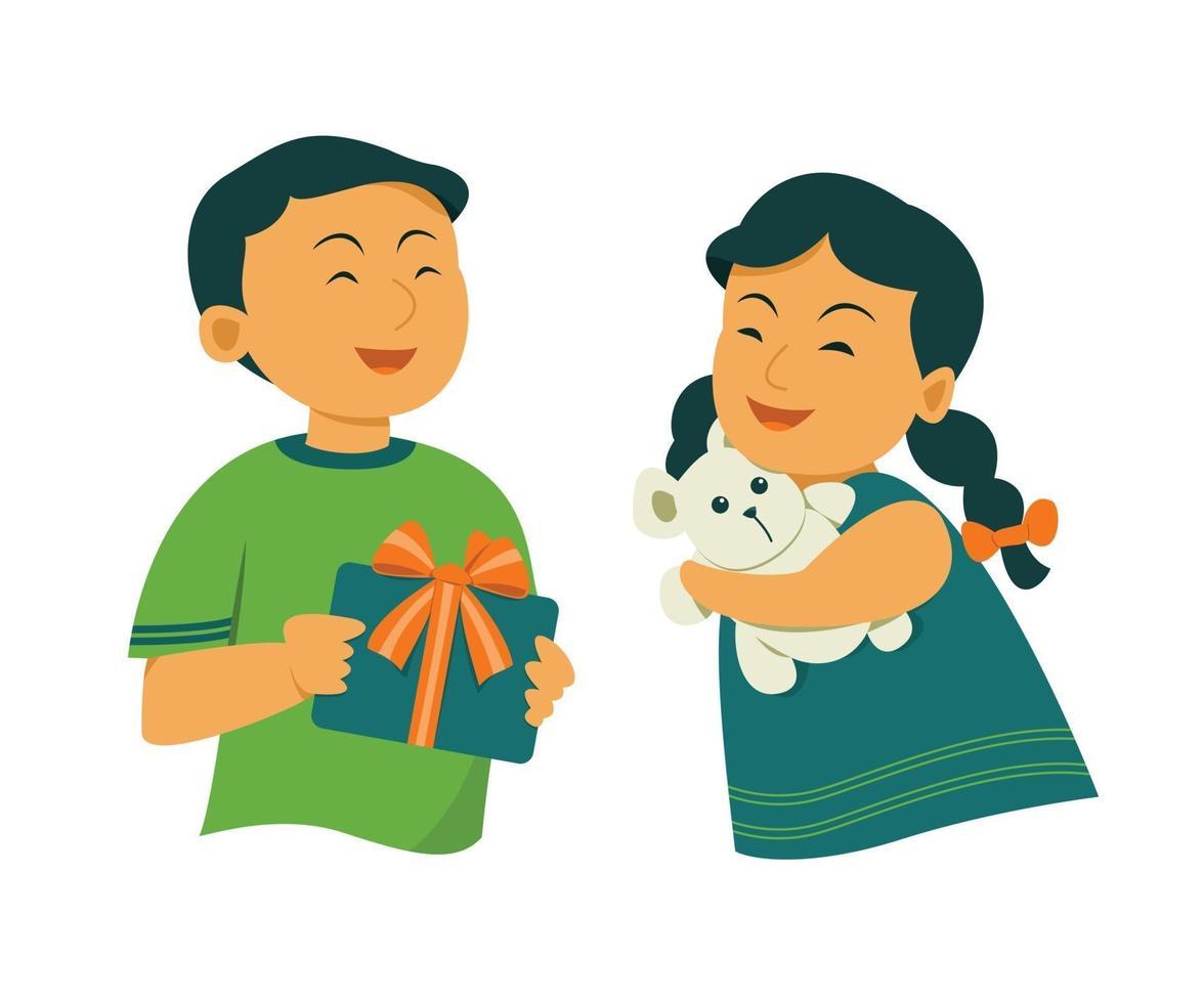 crianças se sentindo felizes segurando presentes vetor