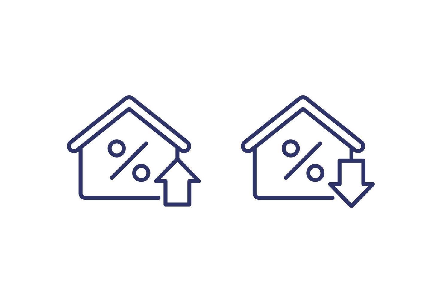 taxa de hipoteca crescendo e reduzindo ícones, linha vector.eps vetor