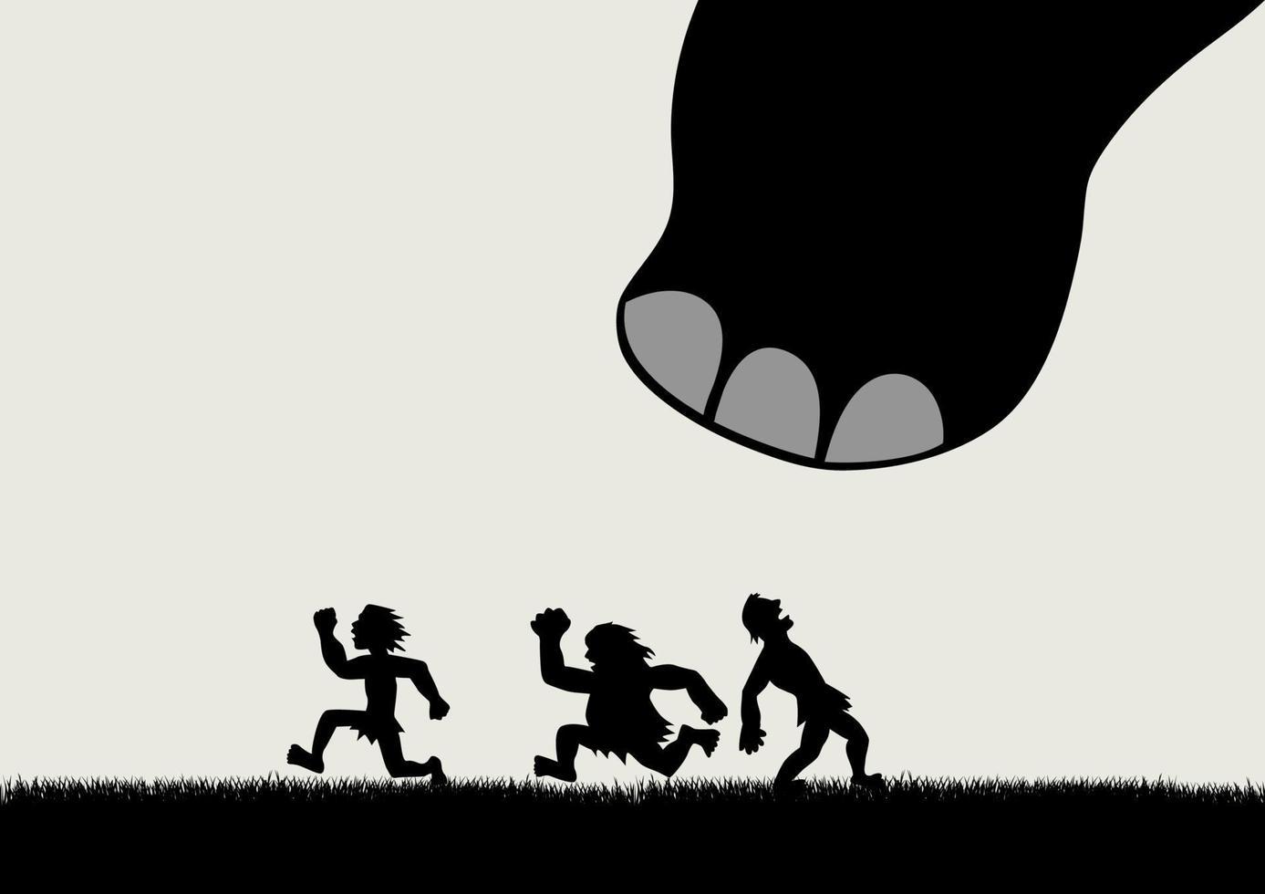 desenho engraçado de homens fugindo do pânico de um dinossauro gigante vetor