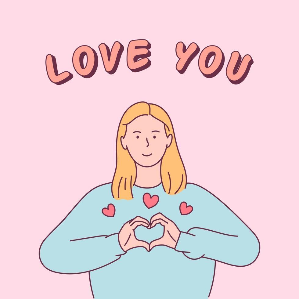 feliz dia dos namorados, conceito de amor. jovem mostra um sinal do coração. ilustração vetorial plana vetor
