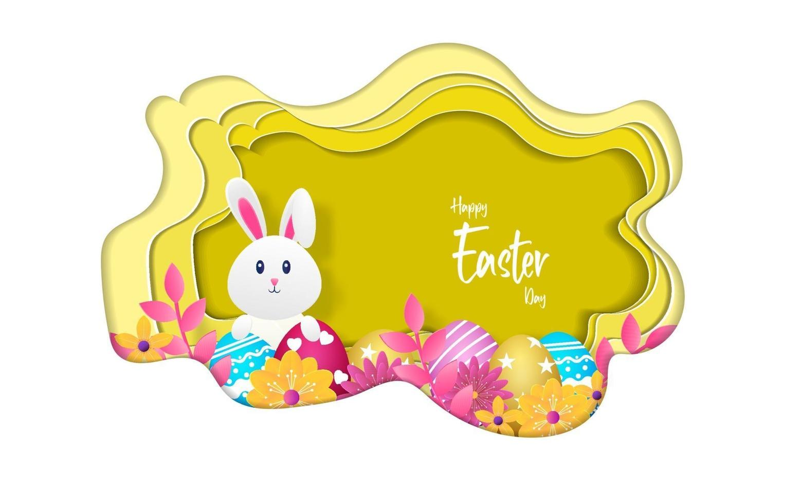 cartão de feliz Páscoa, ilustração vetorial com estilo de corte de papel. vetor