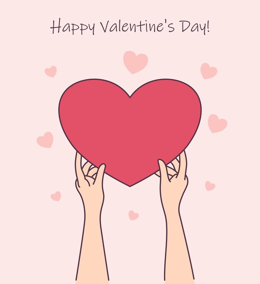 história de amor ou conceito de dia dos namorados. mãos de mulher segura uma caixa de presente de coração vermelho. ilustração de estilo de linha moderna vetor
