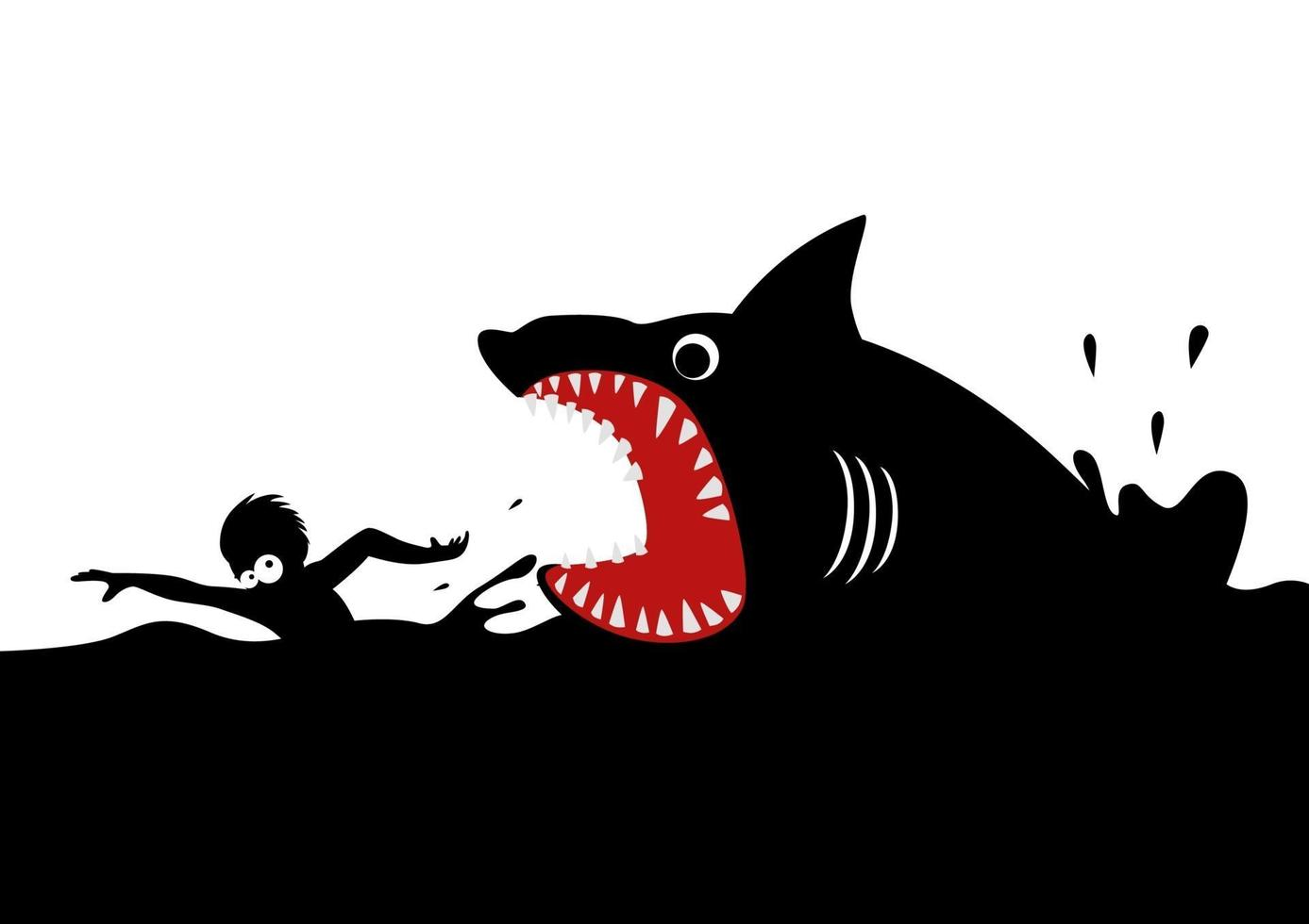 nadando em pânico evitando ataques de tubarão vetor