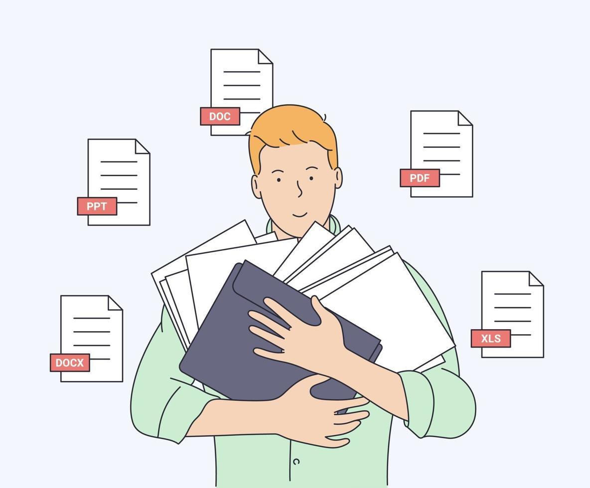 documento, negócios, contabilidade, conceito de pesquisa. jovem sorridente com alguns documentos prontos para trabalhar. ilustração vetorial plana vetor