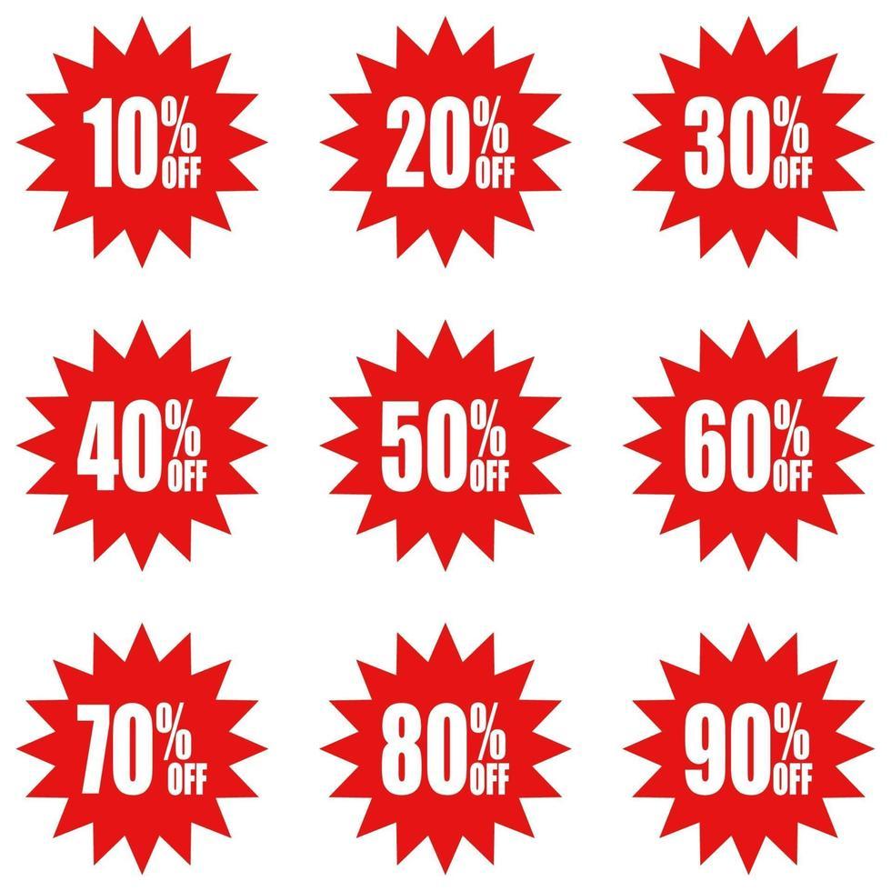 ícone simples de adesivos vermelhos de desconto vetor
