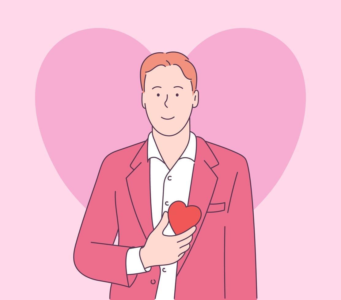 história de amor ou conceito de dia dos namorados. bonito engraçado homem feliz no casaco e camisa branca, segurando a forma de coração grande vermelho. ilustração de estilo de linha moderna vetor