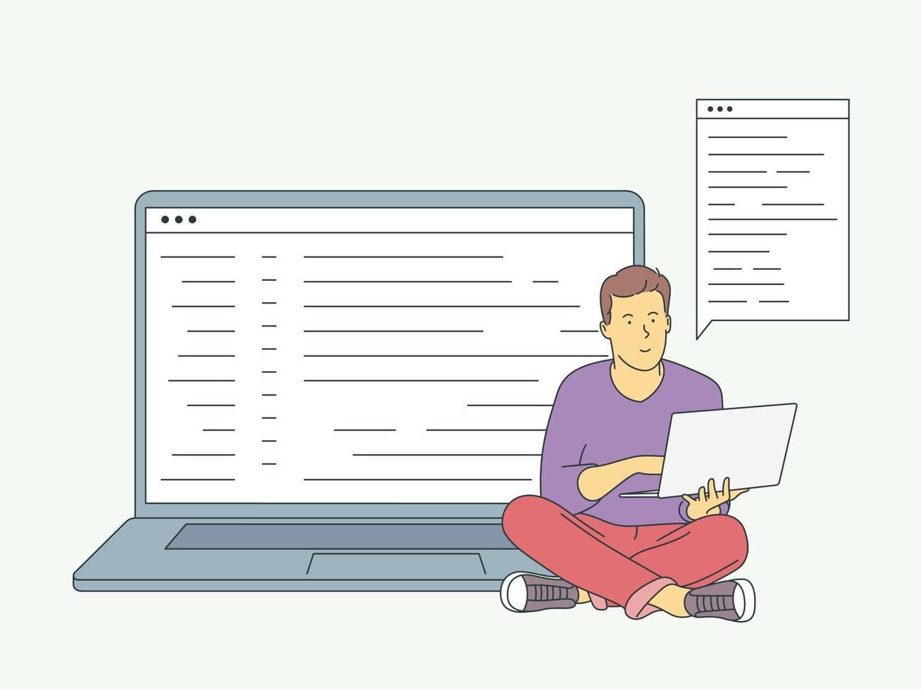 site, programação, conceito de desenvolvimento. jovem programador freelancer, codificação com laptop. ilustração vetorial plana vetor