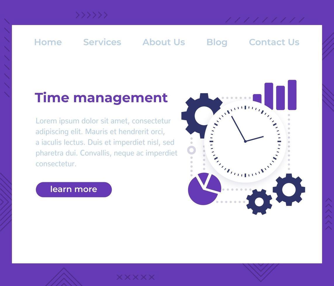 gerenciamento de tempo, vetor de site template.eps