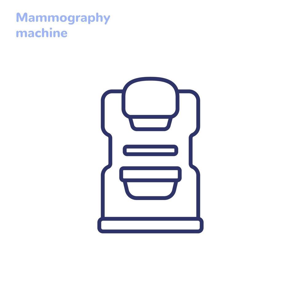 ícone de mamografia, máquina para exame de mama, linha vector.eps vetor