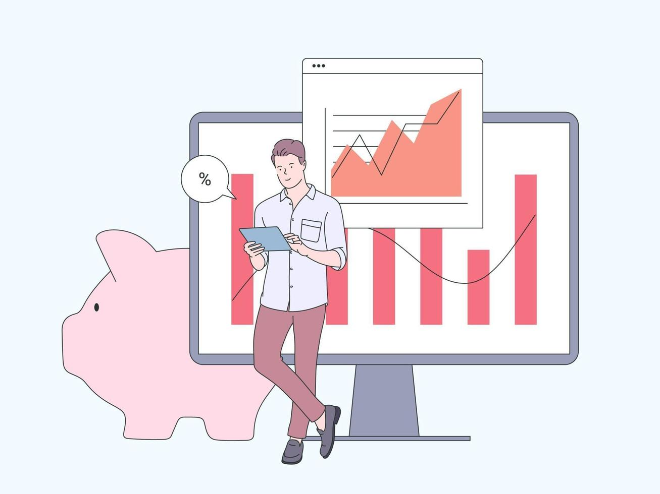 finanças, conceito de análise de dados de marketing. empresário trabalhador cartoon personagem analisando dados financeiros. ilustração vetorial plana vetor