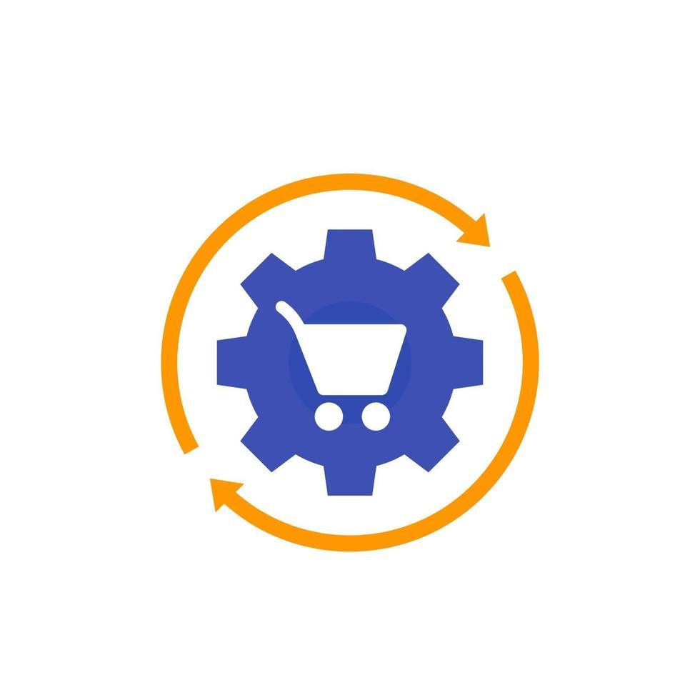 processamento de pedidos, ícone de e-commerce, flat vector.eps vetor