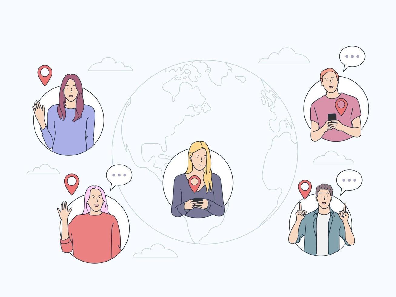comunicar, conceito de chat online. as pessoas se comunicam pela internet. equipe remota de negócios, rede mundial de computadores e marketing. ilustração vetorial plana vetor