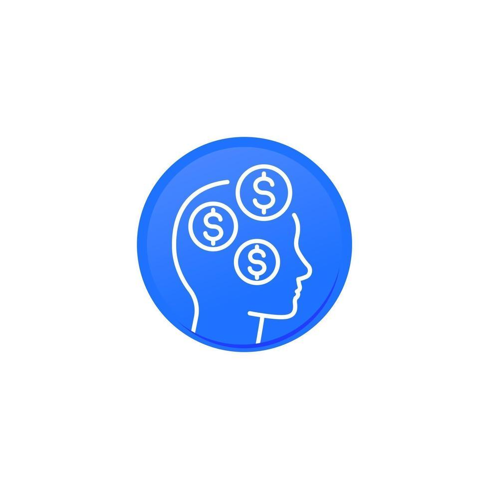 ideias de negócios, dinheiro pensando linear icon.eps vetor