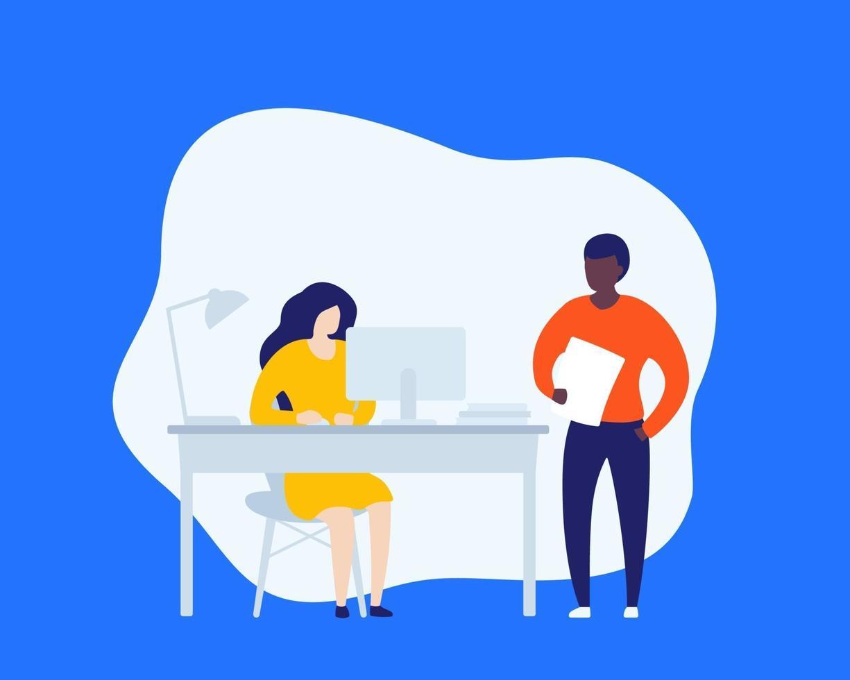 pessoas que trabalham em um escritório aberto, vector illustration.eps