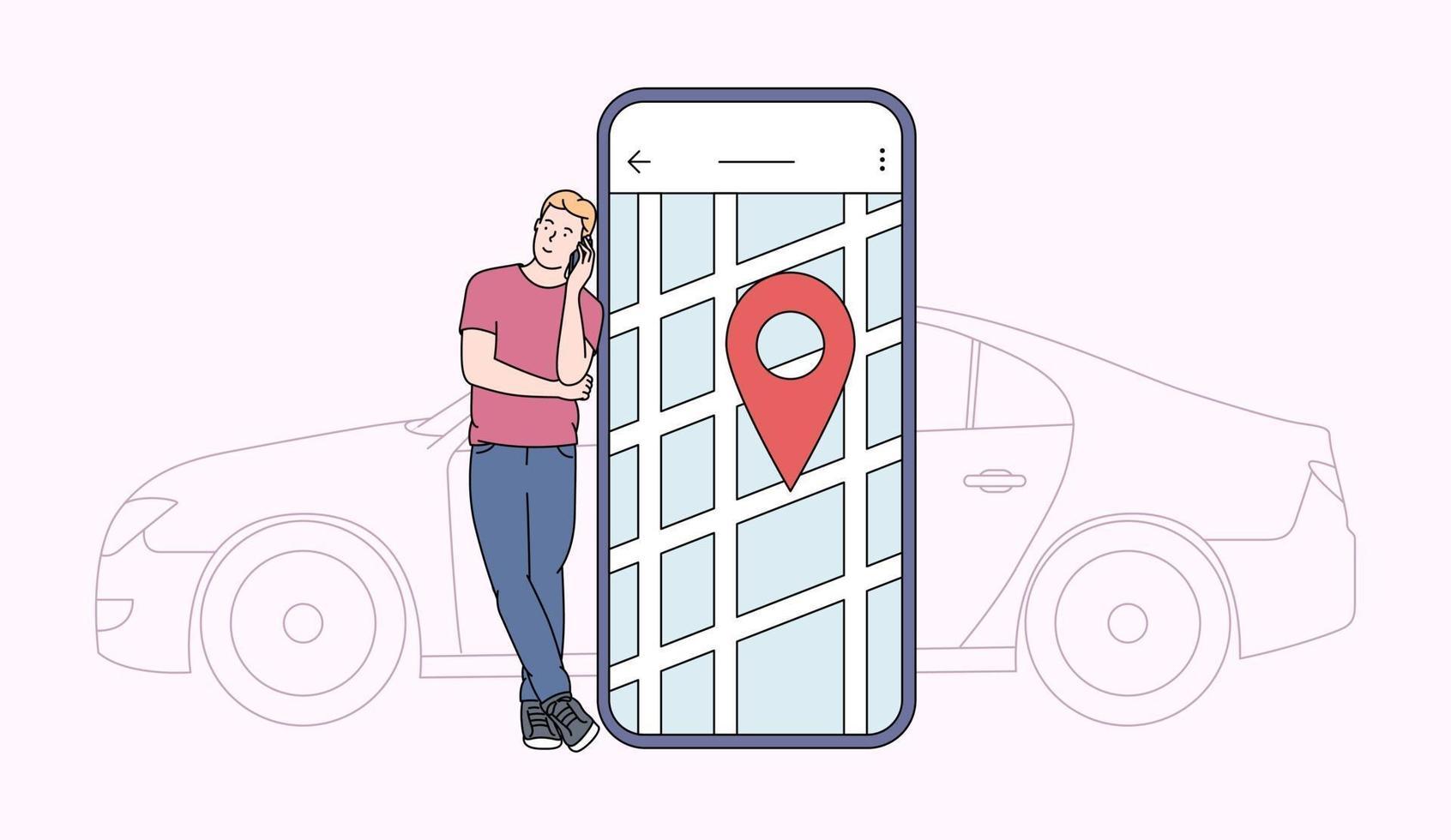 compartilhamento de carro e conceito de aplicativo online. jovem perto da tela do smartphone com rota e ponto de localização no mapa da cidade com o fundo do carro. ilustração vetorial plana vetor