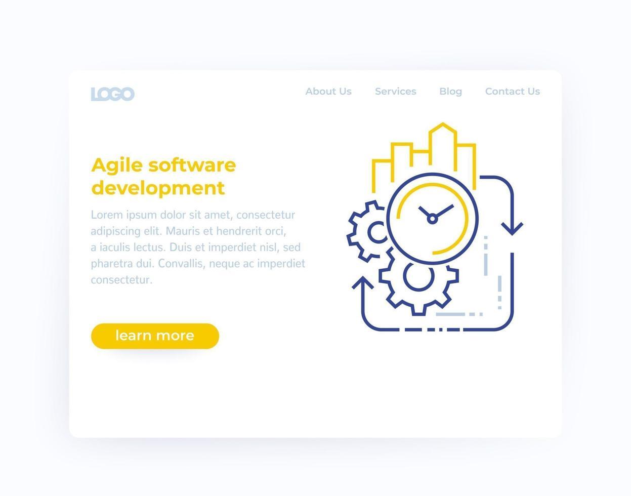 desenvolvimento ágil de software, website template.eps vetor