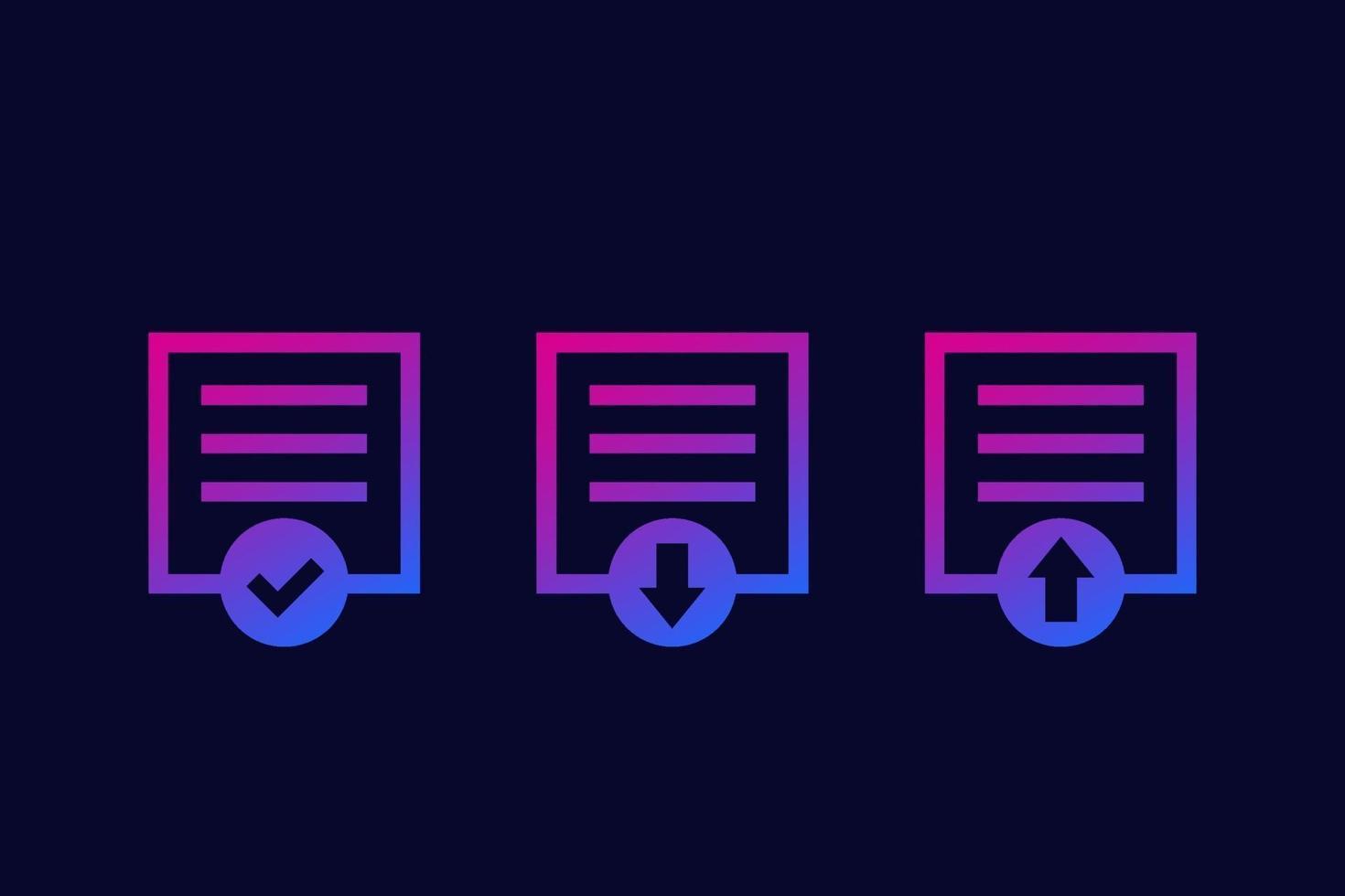 download de documentos, upload e ícones de acabamento, vector.eps vetor