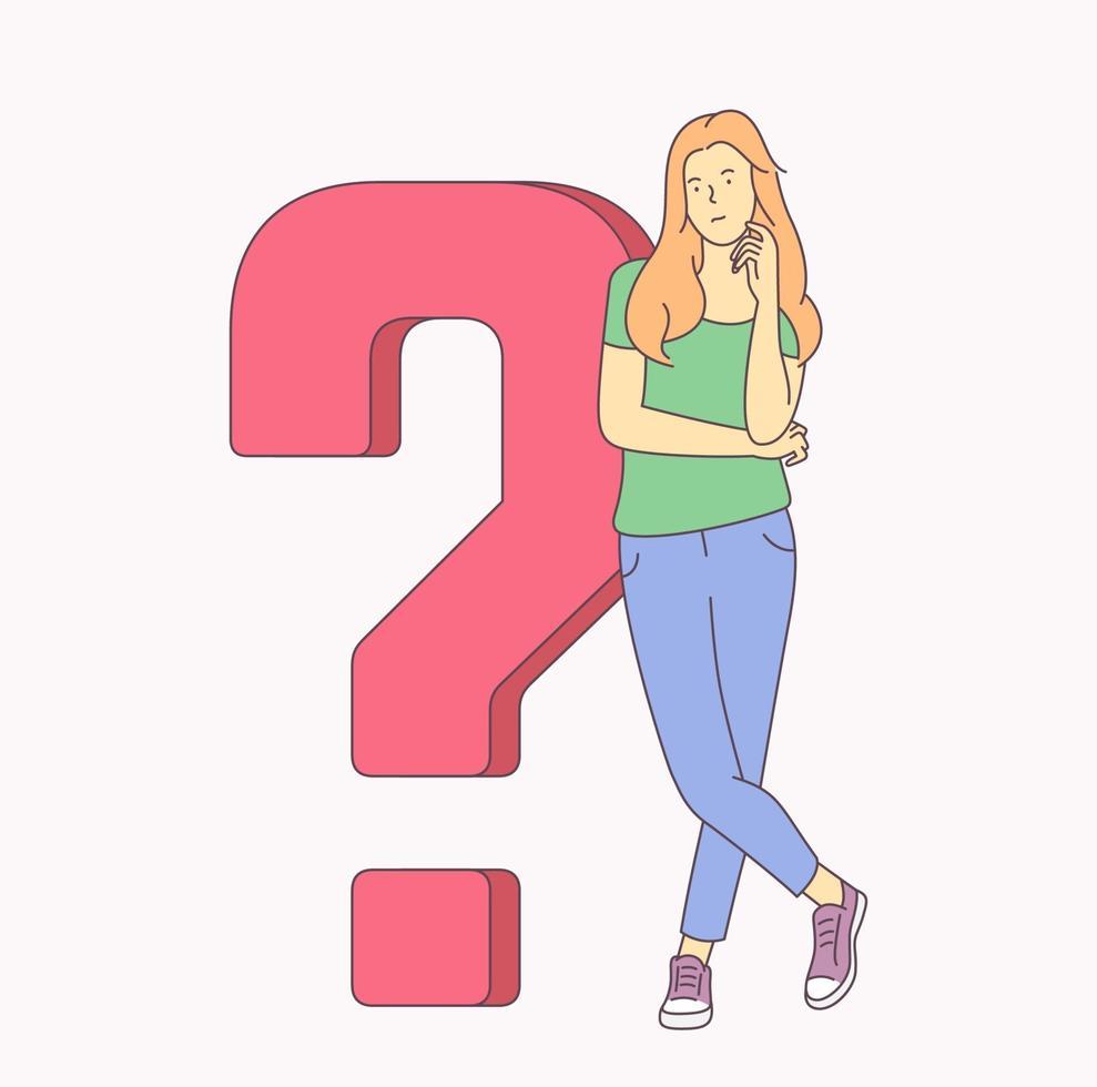 problema, ideia, brainstorm, conceito de conjunto de sucesso. garota jovem está procurando a solução do problema. ilustração vetorial plana vetor