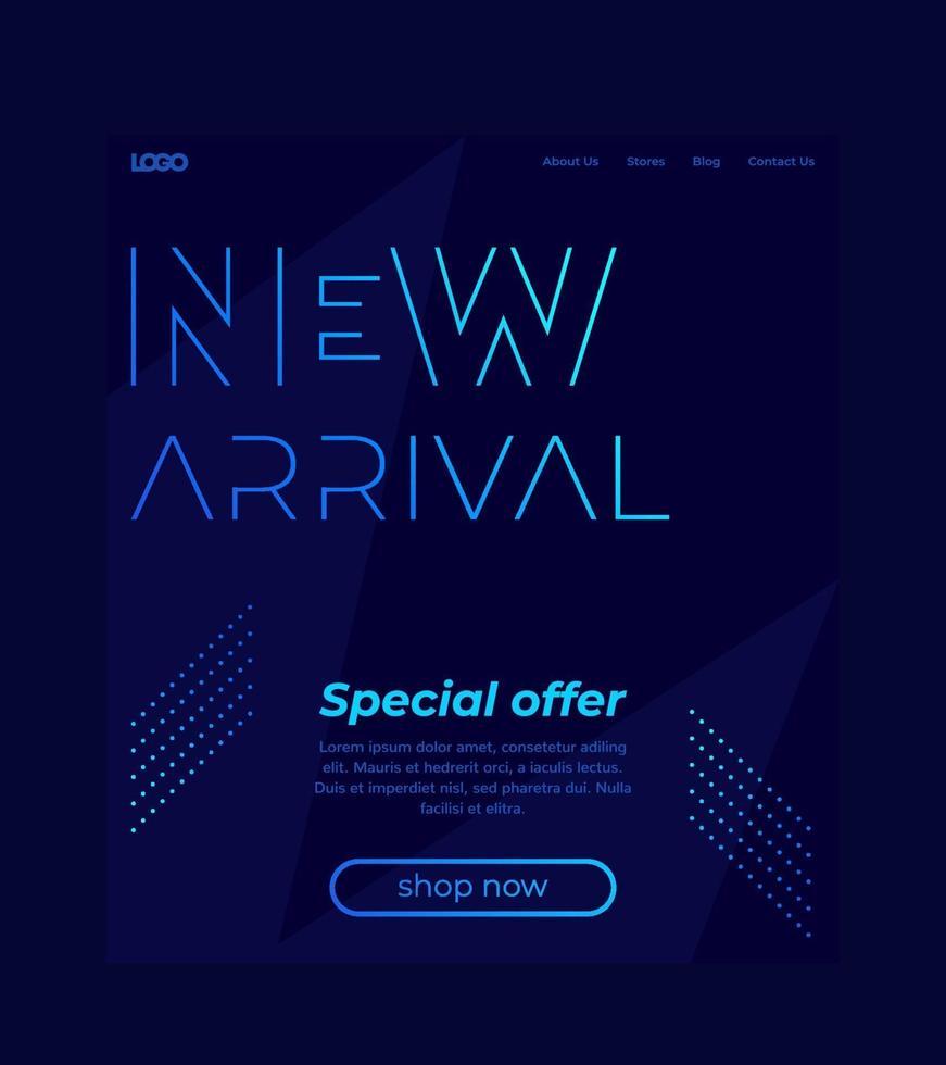 nova chegada, banner de vetor, modelo de site, design de uma página para web.eps vetor