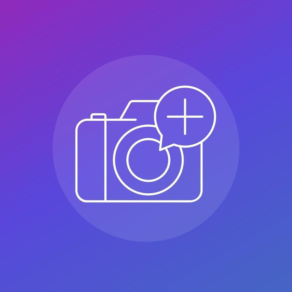 adicionar ícone de foto com câmera, vector.eps linear vetor