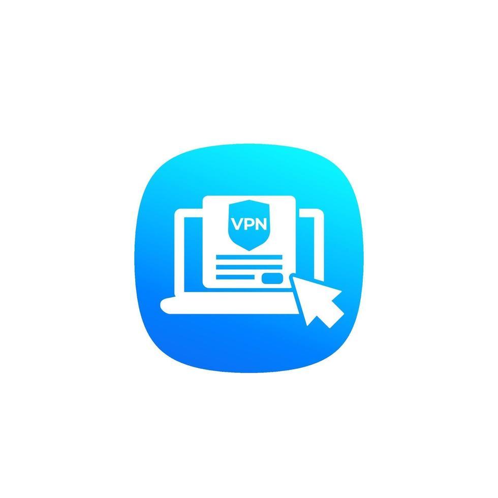 vpn, ícone de vetor com laptop computer.eps
