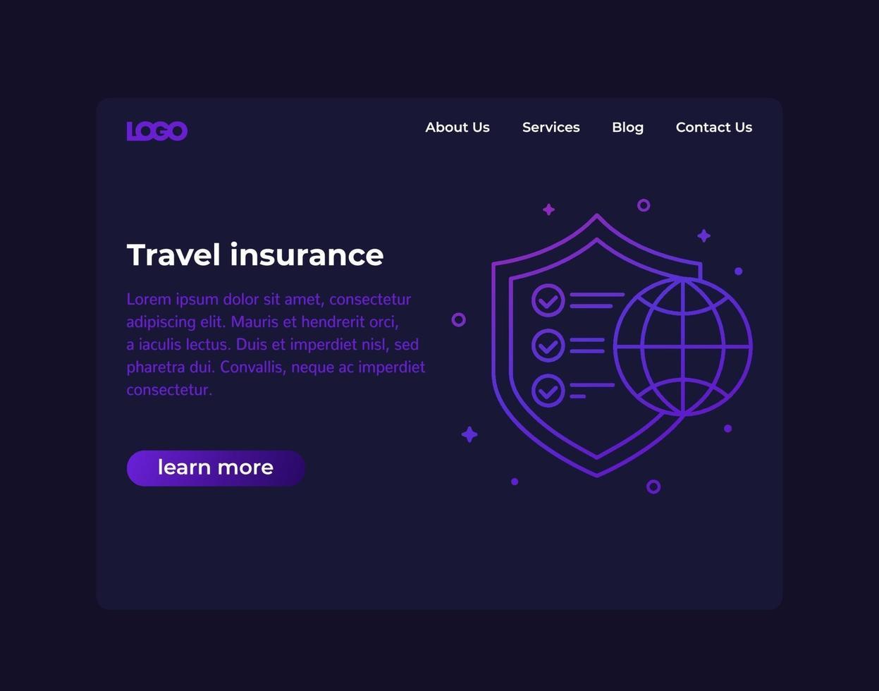seguro de viagem, design de site, vetor template.eps