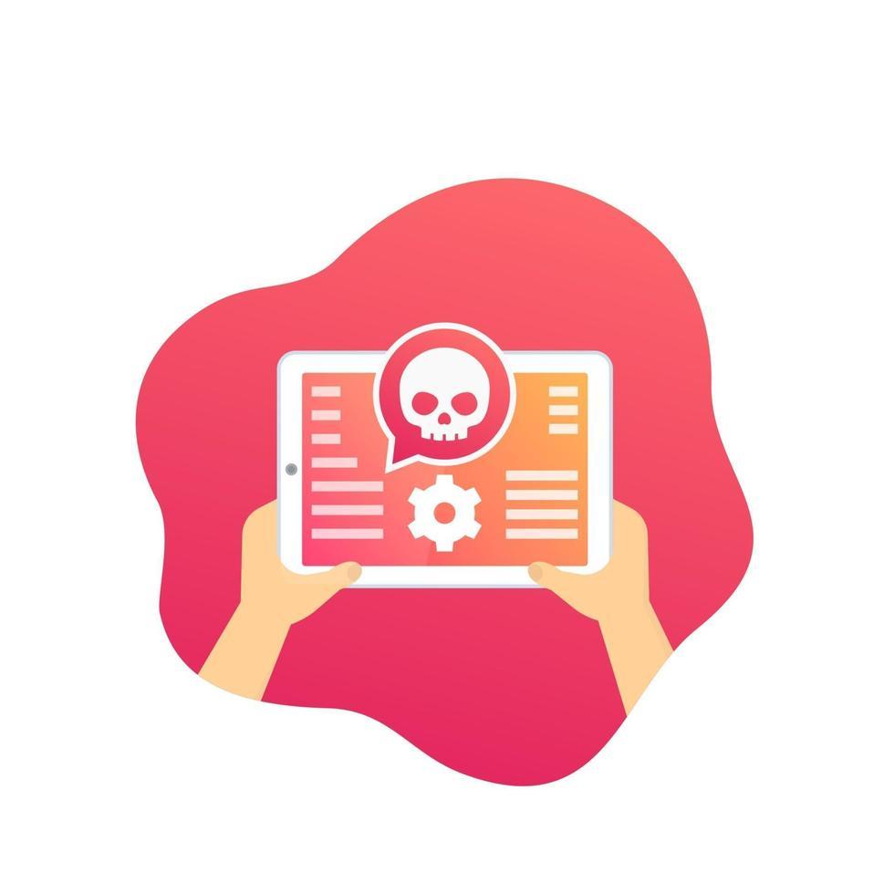 alerta de ataque cibernético, ícone de vetor de segurança móvel com tablet.eps