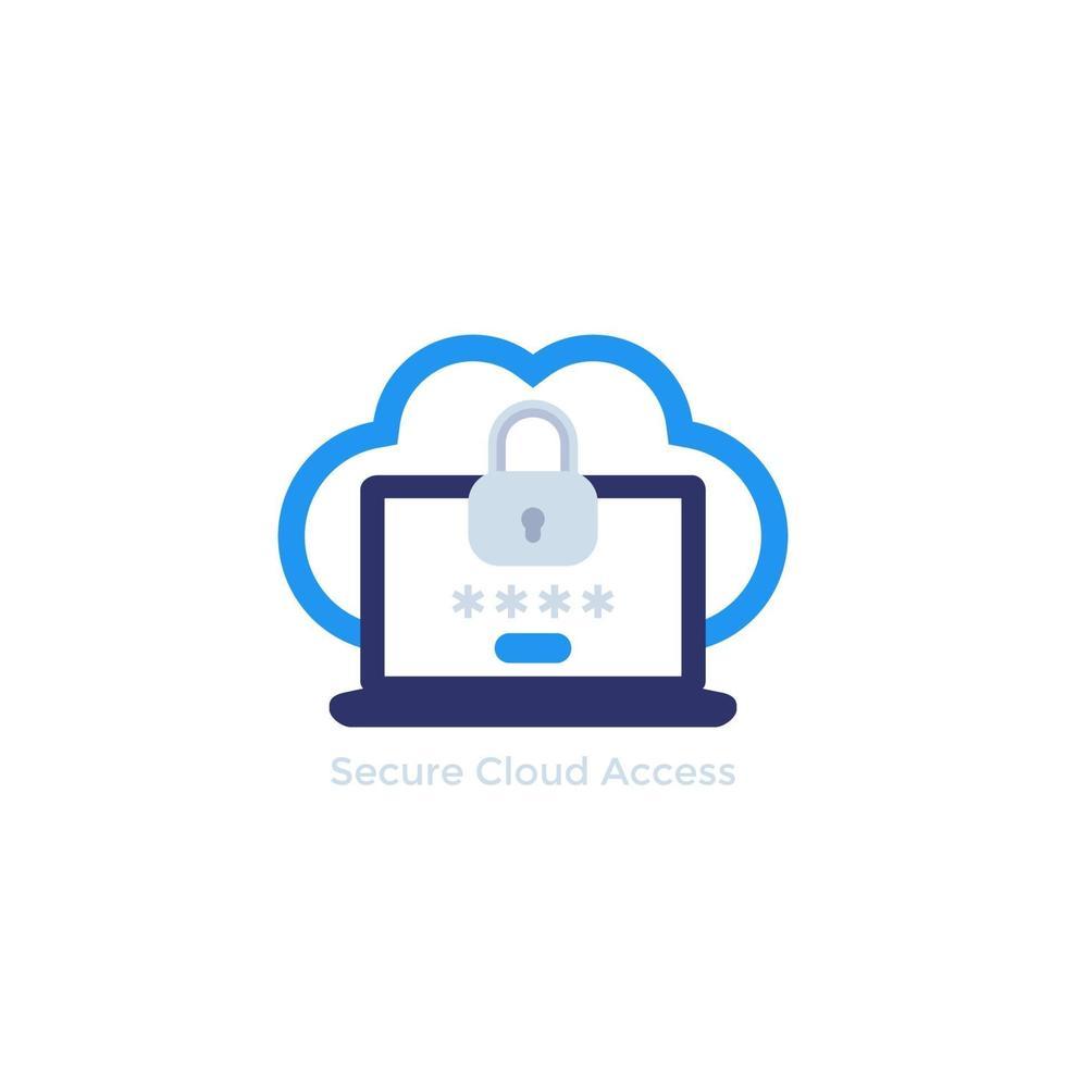 acesso seguro à nuvem com senha, conceito de segurança de dados, vetor icon.eps