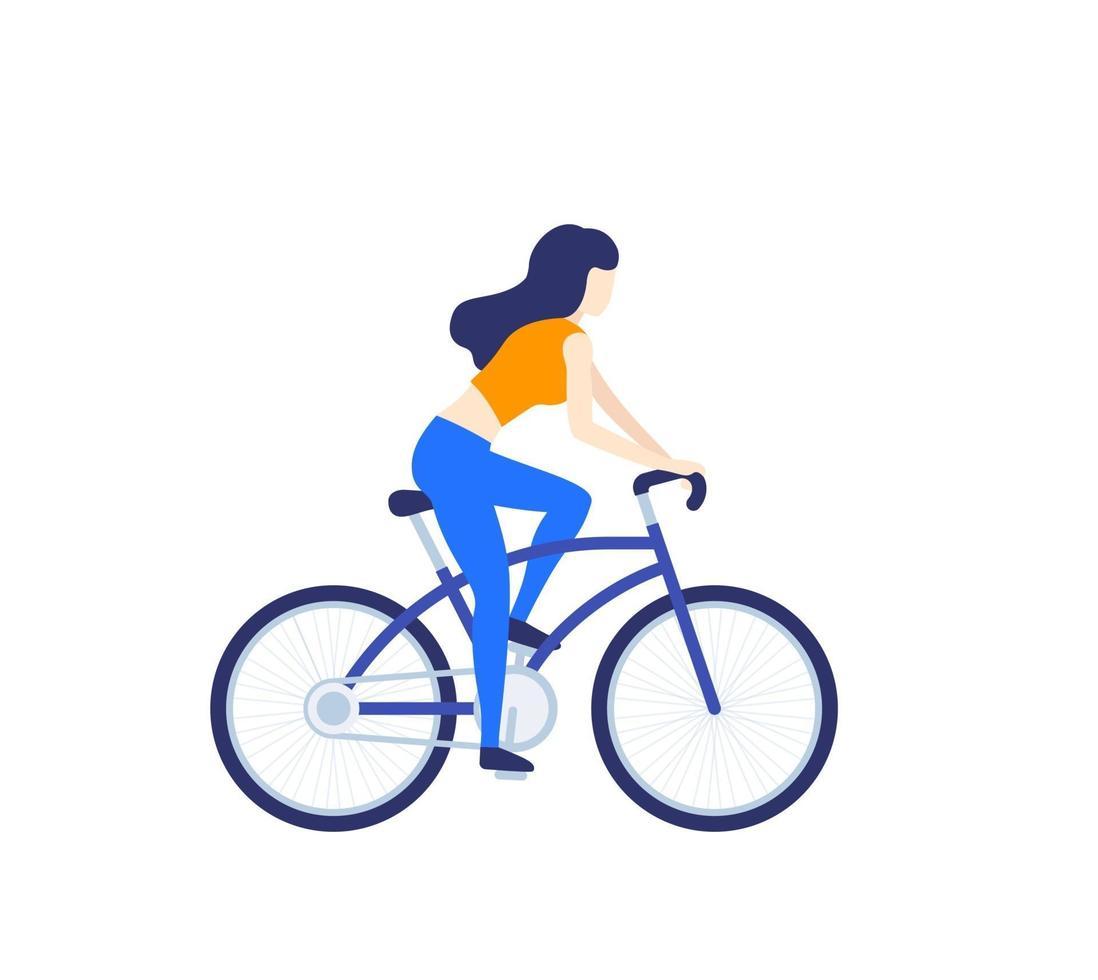 menina andando de bicicleta isolada no branco, vector illustration.eps