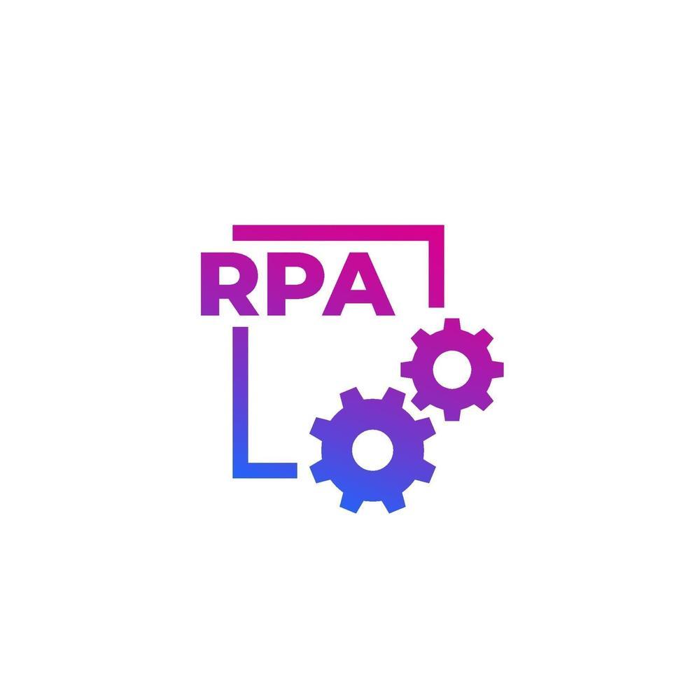 ícone de vetor rpa com engrenagens, conceito de automação de processo robótico.