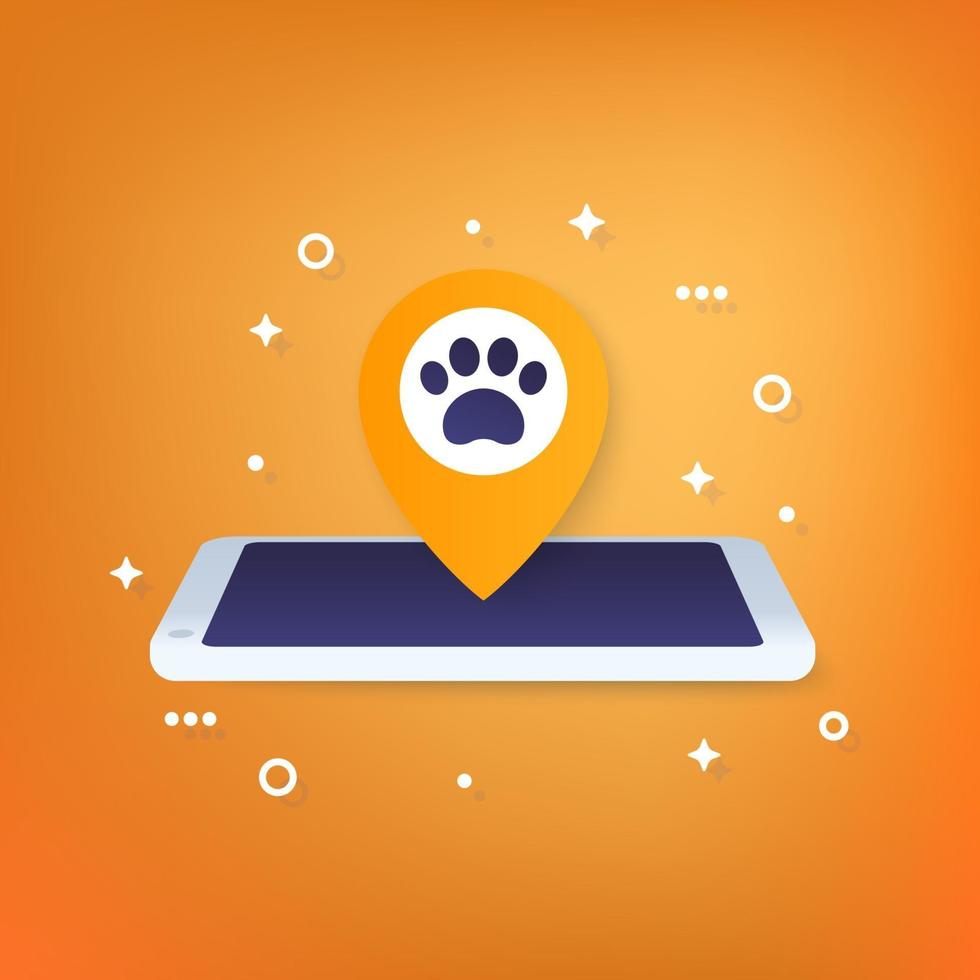aplicativo de localização de animais de estimação, ícone para web.eps vetor