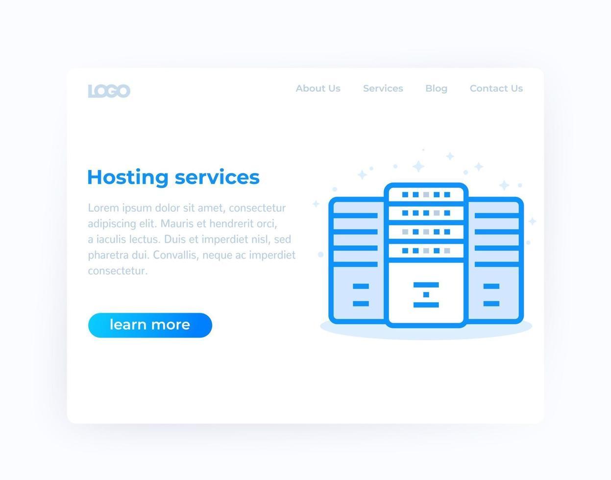serviços de hospedagem, design de site, vetor template.eps