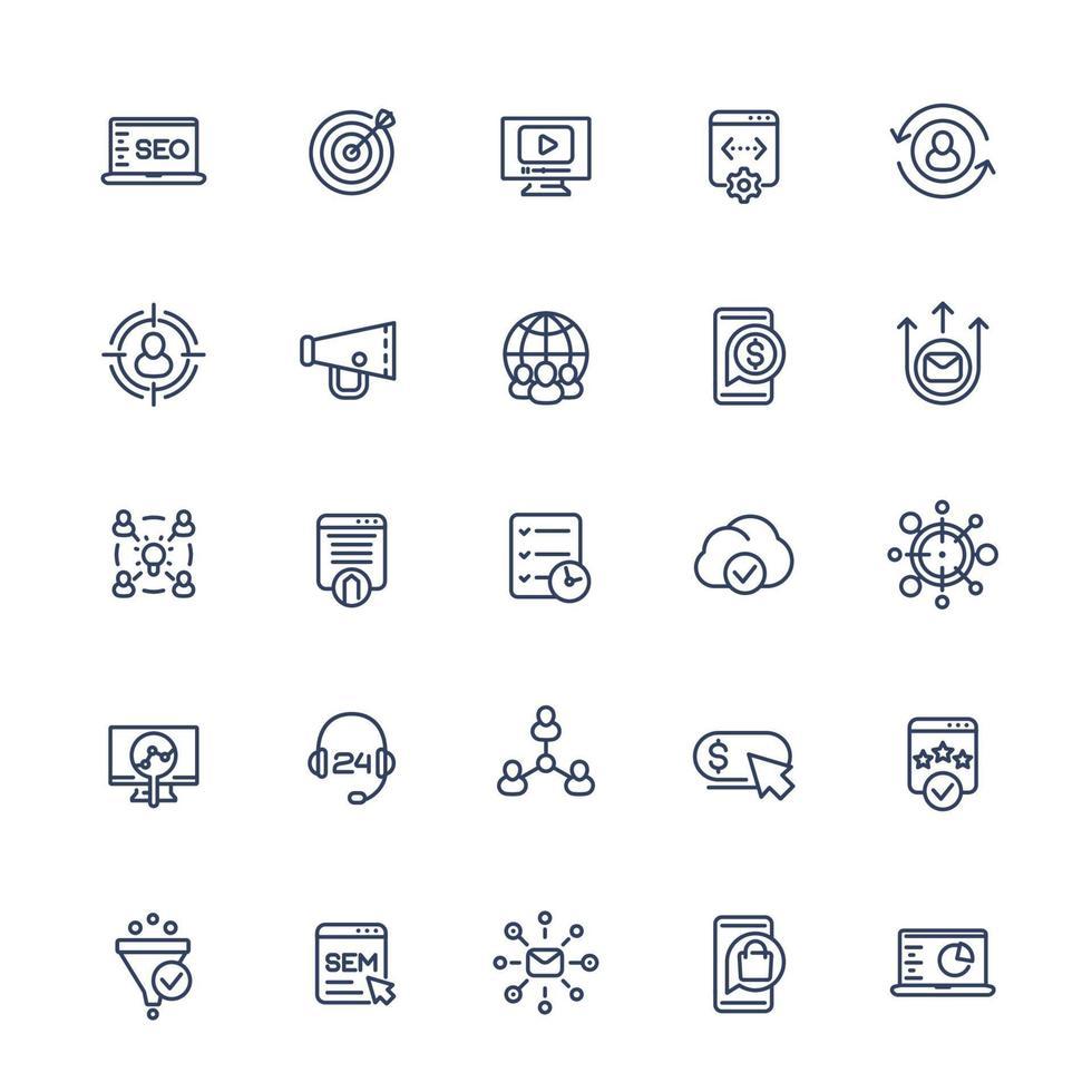 seo e ícones de linha de marketing digital set.eps vetor