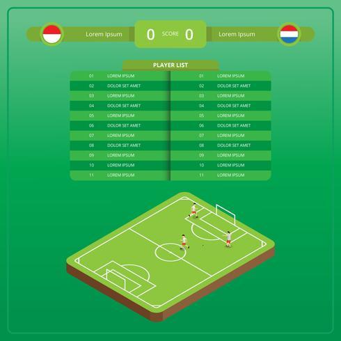 Ilustração de futebol isométrica com Versus Table vetor