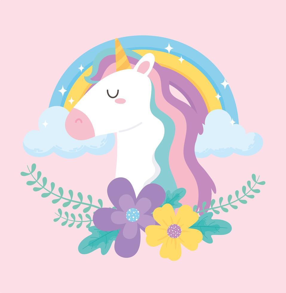 unicórnio mágico bonito dos desenhos animados com arco-íris e flores vetor