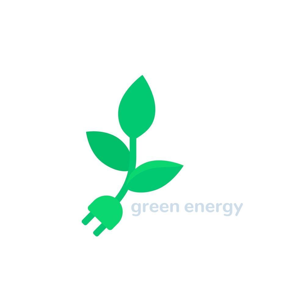 planta com tomada elétrica, vetor de energia verde.