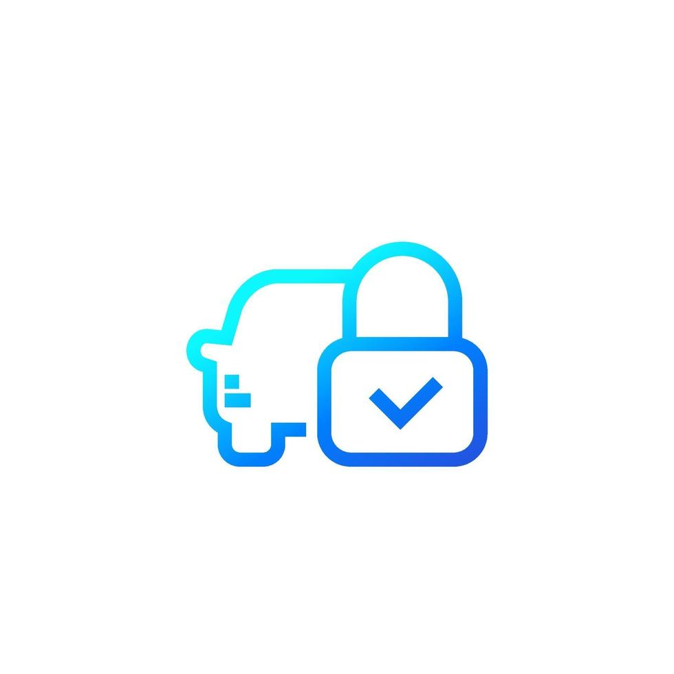 ícone de linha de bloqueio de carro em white.eps vetor