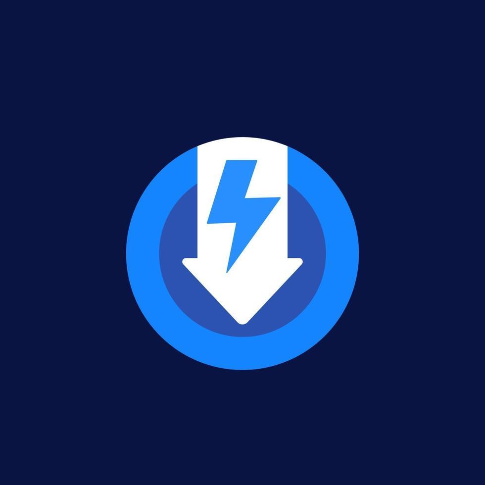 ícone de redução do consumo de energia, vector.eps vetor