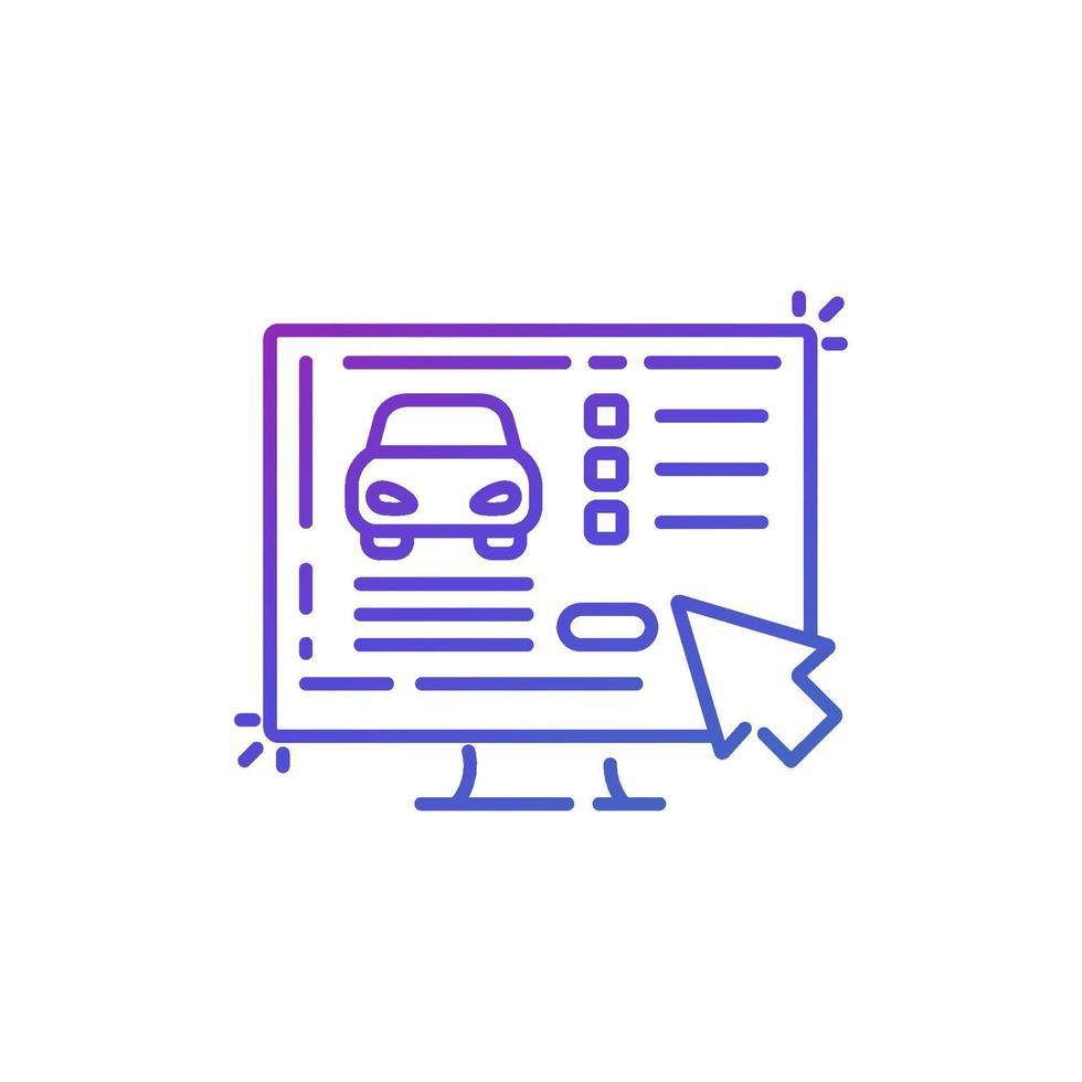 comprar carro online, linha vetor icon.eps