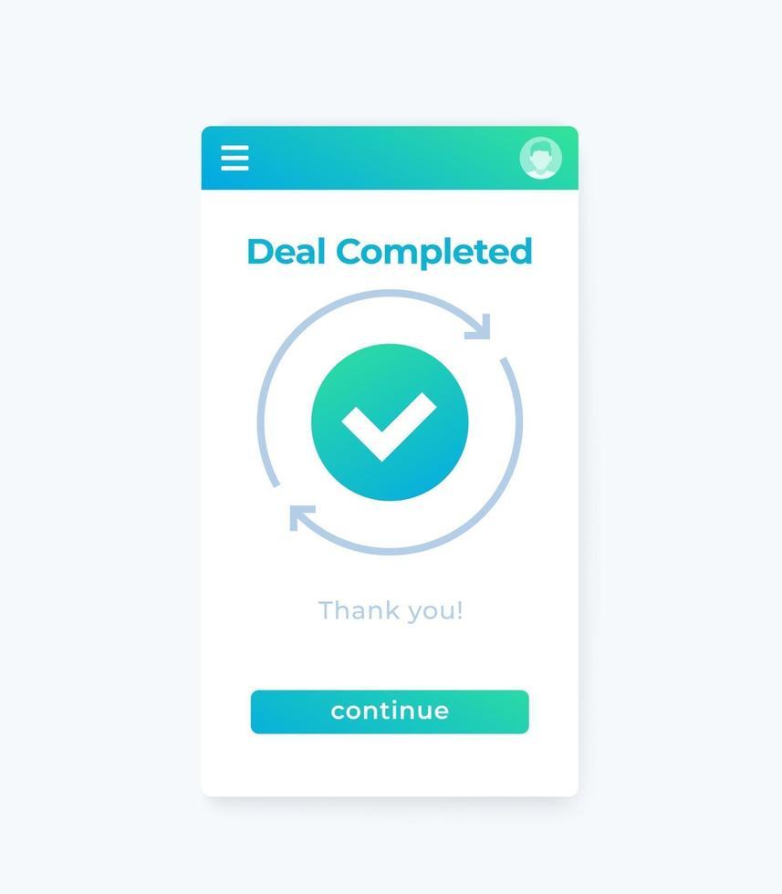 transação concluída, vector mobile ui.eps