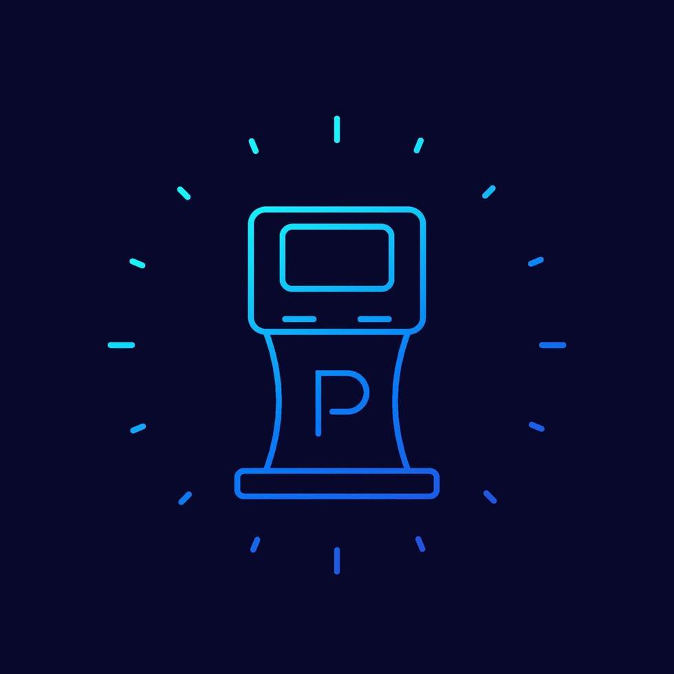 ícone de máquina de estacionamento, linha fina vector.eps vetor