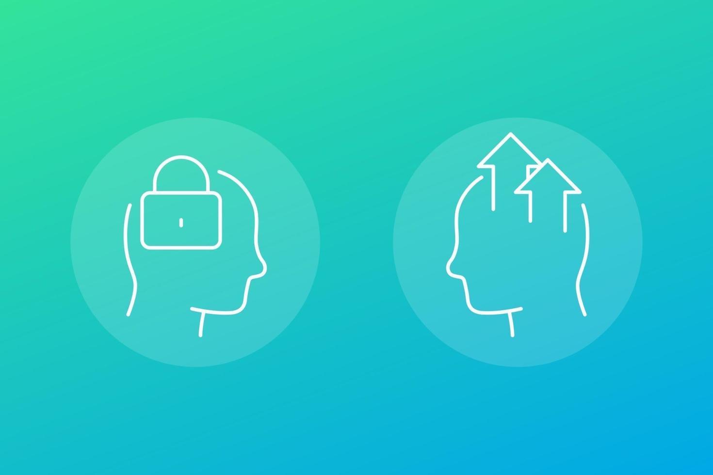 ícones de mentalidade fixa e de crescimento, vector.eps linear vetor