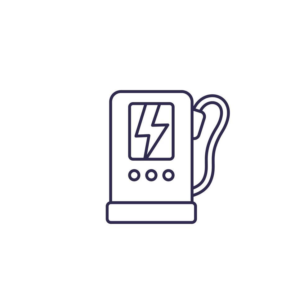 estação de carregamento para linha icon.eps de carros elétricos vetor