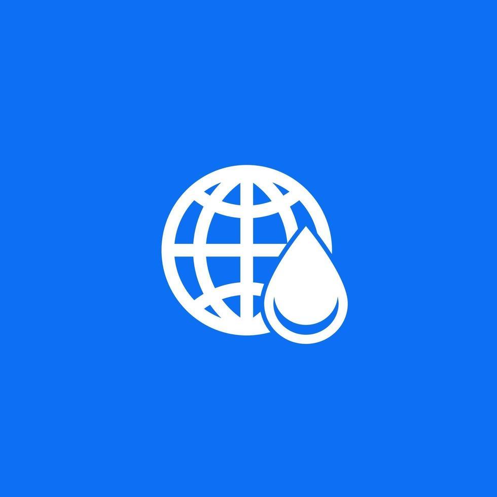 ícone de abastecimento de água com globo e drop.eps vetor